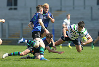 Monday 22nd April 2019 | 2019 McCrea Cup Final<br /> <br /> Stuart McIlwaine is tackled by James Creighton during the McCrea Cup final between Queens 2s and Grosvenor at Kingspan Stadium, Ravenhill Park, Belfast. Northern Ireland. Photo John Dickson/Dicksondigital