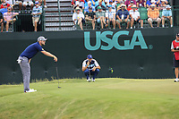 Sergio Garcia (ESP) lines up his putt on the 9th green during Saturday's Round 3 of the 117th U.S. Open Championship 2017 held at Erin Hills, Erin, Wisconsin, USA. 17th June 2017.<br /> Picture: Eoin Clarke | Golffile<br /> <br /> <br /> All photos usage must carry mandatory copyright credit (&copy; Golffile | Eoin Clarke)