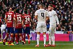 Real Madrid´s Sergio Ramos talk to Karim Benzema during 2015/16 La Liga match between Real Madrid and Atletico de Madrid at Santiago Bernabeu stadium in Madrid, Spain. February 27, 2016. (ALTERPHOTOS/Victor Blanco)