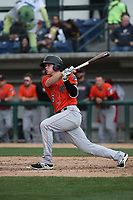 Connor Justus (6) of the Inland Empire 66ers bats against the Rancho Cucamonga Quakes at LoanMart Field on May 7, 2017 in Rancho Cucamonga, California. Rancho Cucamonga defeated Inland Empire, 6-0. (Larry Goren/Four Seam Images)