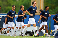 2 October 2011:  FIU's team (pictured, Nicholas Chase (8), Chris Lamarre (12), Colby Burdette (2)) warm up prior to the match.  The FIU Golden Panthers defeated the University of Kentucky Wildcats, 1-0 in overtime, at University Park Stadium in Miami, Florida.