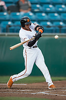 San Jose Giants designated hitter Gio Brusa (26) at bat during a California League game against the Modesto Nuts at San Jose Municipal Stadium on May 15, 2018 in San Jose, California. Modesto defeated San Jose 7-5. (Zachary Lucy/Four Seam Images)