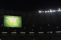 FUSSBALL WM 2014                HALBFINALE Brasilien 1-7 Deutschland          08.07.2014 Die Anzeigentafel in der Arena in Belo Horrzonte mit dem Ergebnis 1-7 und den Torschuetzen