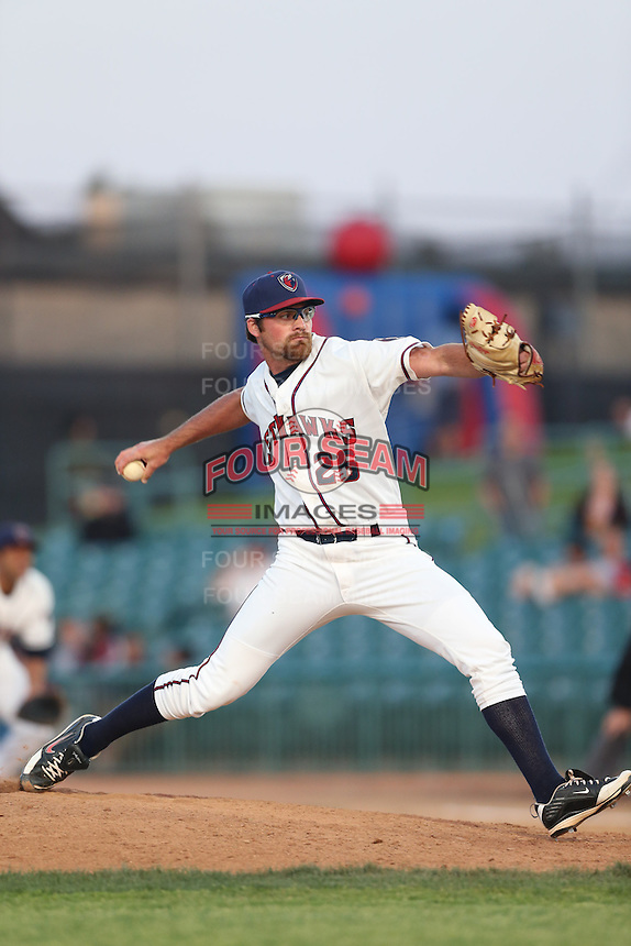 Kyle Westwood #26 of the Lancaster JetHawks pitches against the High Desert Mavericks at The Hanger on April 19, 2014 in Lancaster, California. Lancaster defeated High Desert, 7-1. (Larry Goren/Four Seam Images)
