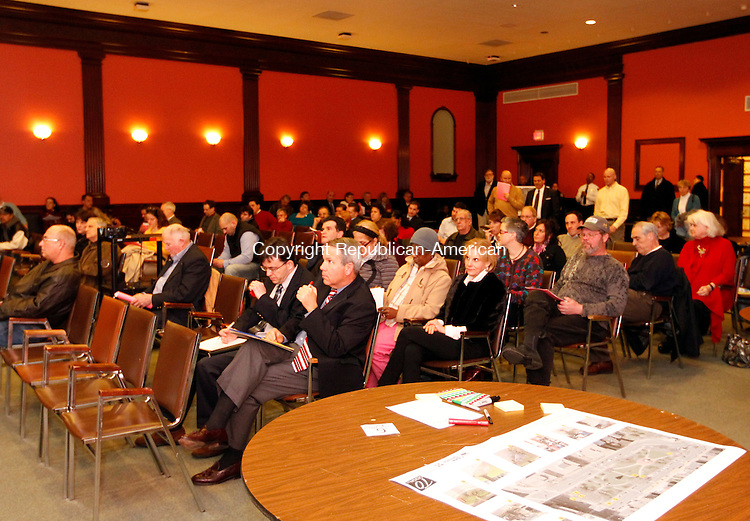 Waterbury, CT-25 January 2012-012512CM07- A rather large audience fills the Mattatuck Museum Wednesday night in Waterbury.  The event was held to solicit ideas from the public on how to revitalize the downtown green.   Christopher Massa Republican-American