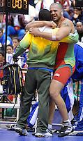 29 February 2008:  Brazilian Greco Roman wrestler, Rodrigo Artiheiro (Red) wins the 120KG Bronze Medal match at the 2008 Pan Am Wrestling Championships, United States Olympic Training Center, Colorado Springs, Colorado.