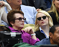 FLUSHING NY- SEPTEMBER 09: Billie Jean King Emma Stone are sighted watching Madison Keys Vs. Sloane Stephens Stephens defeats Keys in straight sets 6-3, 6-0 during the Womens finals on Arthur Ashe Stadium at the US Open in the USTA Billie Jean King National Tennis Center on September 9, 2017 in Flushing Queens. <br /> CAP/MPI04<br /> &copy;MPI04/Capital Pictures