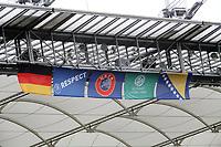 Fahnen fuer das Laenderspiel in der Commerzbank Arena unter dem Dach<br /> WM-Team des DFB trainiert in der Commerzbank Arena *** Local Caption *** Foto ist honorarpflichtig! zzgl. gesetzl. MwSt. Auf Anfrage in hoeherer Qualitaet/Aufloesung. Belegexemplar an: Marc Schueler, Alte Weinstrasse 1, 61352 Bad Homburg, Tel. +49 (0) 151 11 65 49 88, www.gameday-mediaservices.de. Email: marc.schueler@gameday-mediaservices.de, Bankverbindung: Volksbank Bergstrasse, Kto.: 151297, BLZ: 50960101