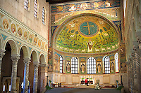 View of the interior of the 6th century AD Byzantine Roman Mosaics of the Basilica of Sant'Apollinare in Classe, Ravenna Italy, looking towards the Apse mosaics. A UNESCO World Heritage Site.