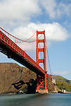 California, San Francisco: The Golden Gate Bridge as seen from an excursion boat. .Photo #: 15-casanf78170.Photo © Lee Foster 2008