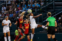 Rochester, NY - Saturday July 23, 2016: FC Kansas City midfielder Frances Silva (11), Western New York Flash midfielder McCall Zerboni (7), Western New York Flash midfielder Janice Cayman (20) during a regular season National Women's Soccer League (NWSL) match between the Western New York Flash and FC Kansas City at Rochester Rhinos Stadium.
