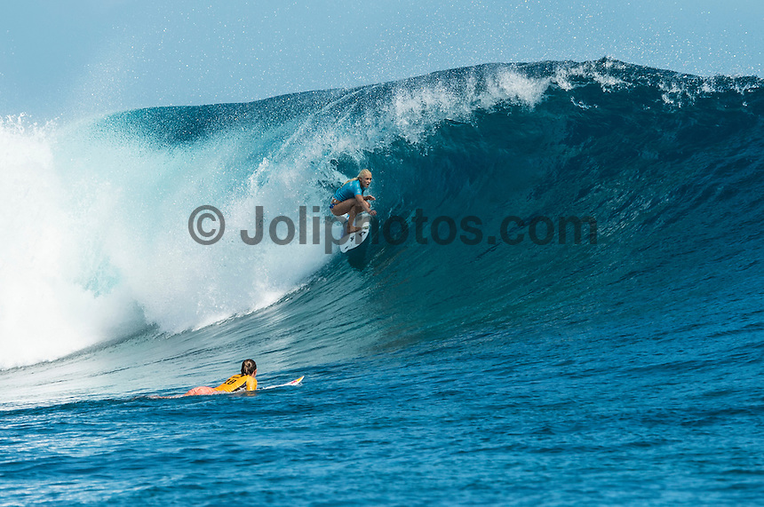 Namotu Island, Fiji (Tuesday, June 2, 2015) Carissa Moore (HAW) and Tatiana Weston-Webb (HAW) - Action continued today at the fifth stop on the 2015 WSL Championship Tour (CT), the Fiji Women&rsquo;s Pro, with a day of high drama and high scores. The world&rsquo;s best female surfers posted four nine-point rides as competition ran through Rounds 2 and 3 in solid surf at Cloudbreak. <br />  <br /> Rookie Tatiana Weston-Webb (HAW) was the standout of the day, claiming both the highest heat total and single-wave score, while defending event winner Sally Fitzgibbons (AUS) suffered a perforated eardrum in the heavy conditions but still made it through to the Quarterfinals.<br />  <br /> Weston-Webb (HAW) had an impressive run of form, looking confident and at ease on her forehand in the sizable surf. She started with a convincing victory over Sage Erickson (USA) in Round 2, pulling into the wave of the day for a long, deep tube and earning a near-perfect 9.73 (out of a possible 10). The young Hawaiian went on to face Jeep Leaderboard No. 1 and two-time World Champion Carissa Moore (HAW) and Coco Ho (HAW) in Round 3 where another nine-point ride saw her take the top spot and a place in the Quarterfinals, sending her opponents to Round 4.<br /> <br /> The surf was in the 4'-6' range with light winds for most of the morning. A light onshore came up early afternoon and the swell became inconsistent.   Photo: joliphotos.com