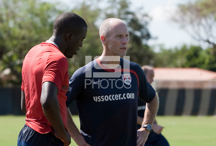 Bob Bradley and Jozy Altidore. U.S. Men's National Team training in San Pedro Sula, Honduras.