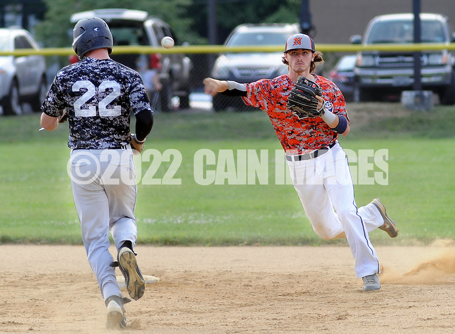 LOWER SOUTHAMPTON, PA - JULY 12:  Bensalem's Bill Uphoff #22 is forced out at second base by Northampton's Will Faccenda in the 4th inning at Kopper Kettle Field July 12, 2014 in Lower Southampton, Pennsylvania.  (Photo by William Thomas Cain/Cain Images)