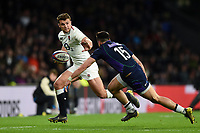Henry Slade of England looks to fend Sean Maitland of Scotland. Guinness Six Nations match between England and Scotland on March 16, 2019 at Twickenham Stadium in London, England. Photo by: Patrick Khachfe / Onside Images