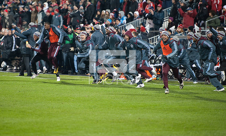 21 November 2010:  The Colorado Rapid players run onto the field after winning the 2010 MLS CUP between the Colorado Rapids and FC Dallas at BMO Field in Toronto, Ontario Canada..The Colorado Rapids won 2-1 in extra time....