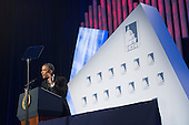US President Barack Obama reacts to a heckler shouting while delivering remarks on immigration reform, at the Congressional Hispanic Caucus Institute's 37th Annual Awards Gala, in Washington DC, USA, 02 October 2014.<br /> Credit: Michael Reynolds / Pool via CNP