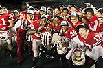 Wisconsin Badgers celebrate after an NCAA Big Ten Conference college football game against the Penn State Nittany Lions on November 26, 2011 in Madison, Wisconsin. The Badgers won 45-7. (Photo by David Stluka)