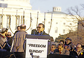 """United States Senator Daniel Inouye (Democrat of Hawaii) speaks at the """"Campaign to the Summit"""", a march on Washington, D.C. supporting freedom for Jews living in the Soviet Union, on Sunday, December 6, 1987.  200,000 people marched to focus attention on the repression of Soviet Jewry, was scheduled a day before United States President Ronald Reagan and Soviet President Mikhail Gorbachev began a 2 day summit in Washington where they signed the Intermediate Range Nuclear Forces (INF) Treaty.<br /> Credit: Ron Sachs / CNP"""