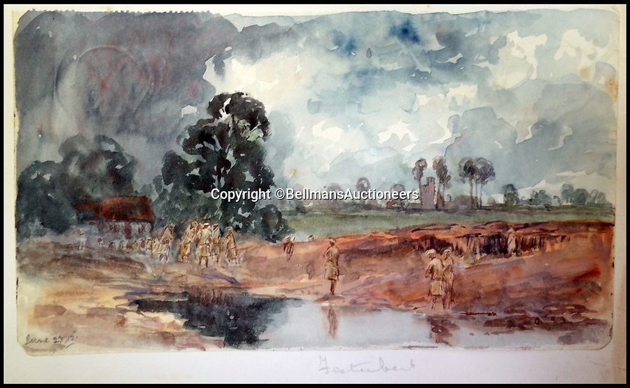 BNPS.co.uk (01202 558833)<br /> Pic: BellmansAuctioneers/BNPS<br /> <br /> Troops approaching Festubert.<br /> <br /> A collection of beautiful First War watercolours that offer a fascinating glimpse into one man's life in the trenches has emerged for sale a century later.<br /> <br /> Talented artist Finlay Mackinnon, who exhibited multiple times at the prestigious Royal Academy, answered the call to sign up in 1914 and spent almost all of the First World War fighting in France.<br /> <br /> But in his free time on the front he did what he loved best, capturing life in the trenches and also the beauty of their bleak surroundings in his pictures.<br /> <br /> Bellmans Auctioneers, who are selling the album of artwork, know little about the provenance of the album, which is expected to fetch £4,000 at auction.