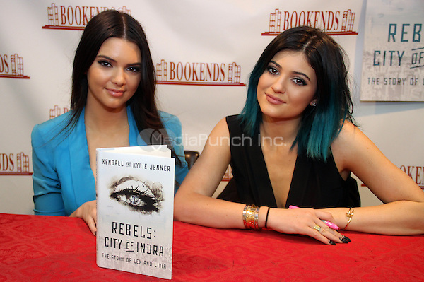 "RIDGEWOOD, NJ - JUNE 3: Kendall & Kylie Jenner ""Rebels: City of Indra"" book signing at Bookends on  June 3, 2014 in Ridgewood, New Jersey. Credit: Walik Goshorn/MediaPunch"