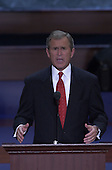 Governor George W. Bush (Republican of Texas) delivers his speech accepting the 2000 Republican Party nomination for President of the United States at the First Union Center on the final night of the Republican National Convention in Philadelphia, Pennsylvania on August 3, 2000.<br /> Credit : Bob Daemmerich / Pool via CNP