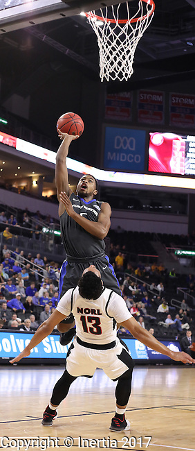 SIOUX FALLS, SD: MARCH 5: 	Charles Ruise Jr. #5 of IPFW shoots over Daniel Norl #13 of Omaha during the Summit League Basketball Championship on March 5, 2017 at the Denny Sanford Premier Center in Sioux Falls, SD. (Photo by Dick Carlson/Inertia)