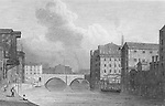 Nineteenth century engraving from 1829, New Bailey Bridge, Manchester, England, UK drawn by W. Westall , drawn by Thomas H Shepherd