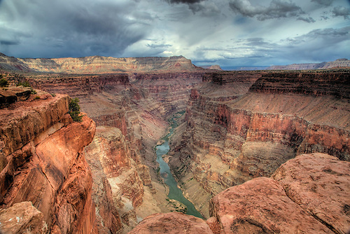 Stormy skies threaten the Grand Canyon at Toroweap at Grand Canyon National Park, Arizona