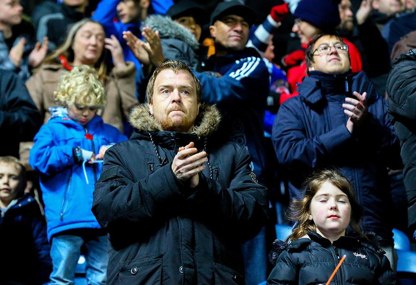 Blackburn Rovers fans celebrate the win after the final whistle <br /> <br /> Photographer Alex Dodd/CameraSport<br /> <br /> The EFL Sky Bet Championship - Blackburn Rovers v Queens Park Rangers - Saturday 3rd November 2018 - Ewood Park - Blackburn<br /> <br /> World Copyright © 2018 CameraSport. All rights reserved. 43 Linden Ave. Countesthorpe. Leicester. England. LE8 5PG - Tel: +44 (0) 116 277 4147 - admin@camerasport.com - www.camerasport.com