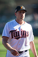 Salt River Rafters relief pitcher Adam Bray (16), of the Minnesota Twins organization, walks off the field between innings of an Arizona Fall League game against the Surprise Saguaros at Salt River Fields at Talking Stick on November 5, 2018 in Scottsdale, Arizona. Salt River defeated Surprise 4-3 . (Zachary Lucy/Four Seam Images)