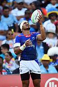 January 27th, Hamilton, New Zealand;  Samoa's Siaosi Asofolau celebrates a try during the Day 2 of the HSBC World Rugby Sevens Series 2019, FMG Stadium Waikato,Hamilton, Sunday 27th January 2019.