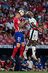 Lucas Hernandez (L) of Atletico de Madrid fights for the ball with Luis Advincula of Rayo Vallecano during the La Liga 2018-19 match between Atletico de Madrid and Rayo Vallecano at Wanda Metropolitano on August 25 2018 in Madrid, Spain. Photo by Diego Souto / Power Sport Images