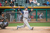 Scooter Gennett (5) of the Colorado Springs Sky Sox at bat against the Salt Lake Bees in Pacific Coast League action at Smith's Ballpark on May 22, 2015 in Salt Lake City, Utah.  (Stephen Smith/Four Seam Images)