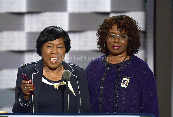 Felicia Sanders and Polly Sheppard, two of the three survivors of the Mother Emanuel Church shooting in Charleston, South Carolina, make remarks during the third session of the 2016 Democratic National Convention at the Wells Fargo Center in Philadelphia, Pennsylvania on Wednesday, July 27, 2016.<br /> Credit: Ron Sachs / CNP/MediaPunch<br /> (RESTRICTION: NO New York or New Jersey Newspapers or newspapers within a 75 mile radius of New York City)