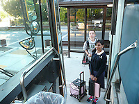 The Harker School - SW - Schoolwide - Harker's Inaugural Peninsula Shuttle Bus Ride?2012-08...Photo by Heather Perrotta