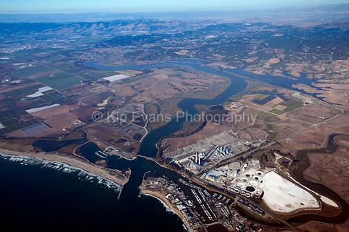 Aerial view of Elkhorn Slough in Moss Landing, California, looking east.