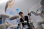 "Japanese automobile giant Toyota subsidiary Denso demonstrates compact sized robot arms ""COBOTTA"" developed for small factory, laboratory and academic use at an robot exhibition Robodex in Tokyo on January 17, 2019. Some 220 robot companies display their recent products and technlogies at a three-day exhibition. January 17, 2019 (Photo by Nicolas Datiche/AFLO) (JAPAN)"