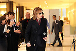 """December 24, 2016, Tokyo, Japan - Yoshiki, a member of Japanese rock group """"X Japan"""" arrives at an opening event to promote his designed kimono dress """"Yoshikimono"""" at the Isetan department store in Tokyo on Monday, December 26, 2016. Business of Yoshiki's parents was kimono fabrics shop, but he did not take over his family business.  (Photo by Yoshio Tsunoda/AFLO) LWX -ytd-"""
