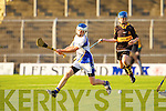 Tralee Parnell's Ciaran O'Reilly and Dr Crokes Ciaran in action in the North Kerry U13 hurling final at Austin Stack park, Tralee on Friday.