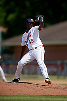 Auburn Doubledays relief pitcher Jose De Los Santos (45) delivers a pitch during a game against the Batavia Muckdogs on June 17, 2018 at Falcon Park in Auburn, New York.  Auburn defeated Batavia 10-8.  (Mike Janes/Four Seam Images)