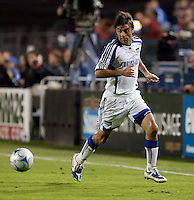 Claudio Lopez receives the ball down the sideline. The San Jose Earthquakes defeated the Kansas City Wizards in stoppage time 1-0 at Buck Shaw Stadium in Santa Clara, California on August 22, 2009.