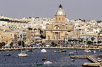 Kalkara, Malta.  Kalkara and Kalkara Creek from Vittoriosa, Birgu.