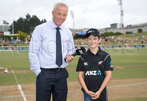 20th December, 2017, Whangarei, New Zealand;  ANZ Coin Toss winner James Bailey with Mark Richardson. New Zealand Black Caps versus West Indies, first One Day International cricket, Cobham Oval, Whangarei, New Zealand. Wednesday, 20 December, 2017.