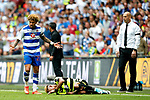 Daniel Williams of Reading reacts after Rajiv van La Parra of Huddersfield Town goes down injured during the SkyBet Championship Play Off Final match at the Wembley Stadium, England. Picture date: May 29th, 2017.Picture credit should read: Matt McNulty/Sportimage