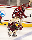 Jillian Dempsey (Harvard - 14), Emily Pfalzer (BC - 14) - The Boston College Eagles defeated the visiting Harvard University Crimson 3-1 in their NCAA quarterfinal matchup on Saturday, March 16, 2013, at Kelley Rink in Conte Forum in Chestnut Hill, Massachusetts.