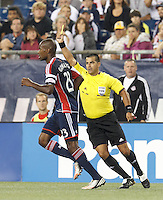 Yellow Card:  New England Revolution defender Jose Goncalves (23) at 90+. In a Major League Soccer (MLS) match, Toronto FC (white/red) defeated the New England Revolution (blue), 1-0, at Gillette Stadium on August 4, 2013.