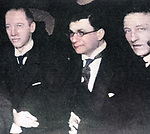 Friends of Anna Akhmatova (1889-1966): Nikolai Gumilev, Zinovy Grzhebin and Alexander Alexandrovich Block (1880-1921). 1919.