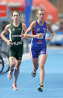 31 AUG 2007 - HAMBURG, GER - Renata Koch (HUN) and Rosie Clarke (GBR) - Under 23 Womens World Triathlon Championships. (PHOTO (C) NIGEL FARROW)