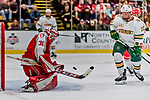 29 December 2018: Rensselaer Engineer Goaltender Owen Savory, a Freshman from Cambridge, ON, makes a second period save against the University of Vermont Catamounts as Catamount Vlad Dzhioshvili looks for the rebound at Gutterson Fieldhouse in Burlington, Vermont. The Catamounts rallied from a 2-0 deficit to defeat RPI 4-2 and win the annual Catamount Cup Tournament. Mandatory Credit: Ed Wolfstein Photo *** RAW (NEF) Image File Available ***
